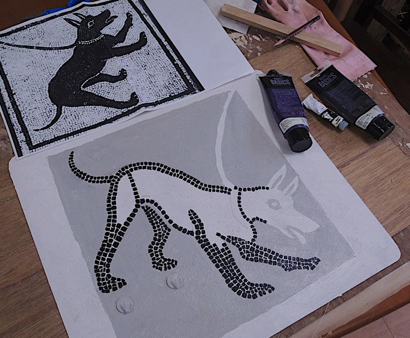 ポンペイの犬 モザイク画「Cave canem」2013